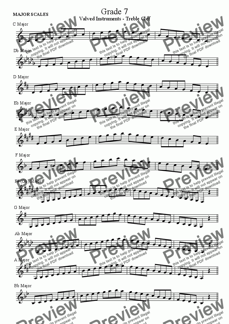 page one of Scales Grade 7, Treble Clef Valved Brass (ABRSM)ASALTTEXT