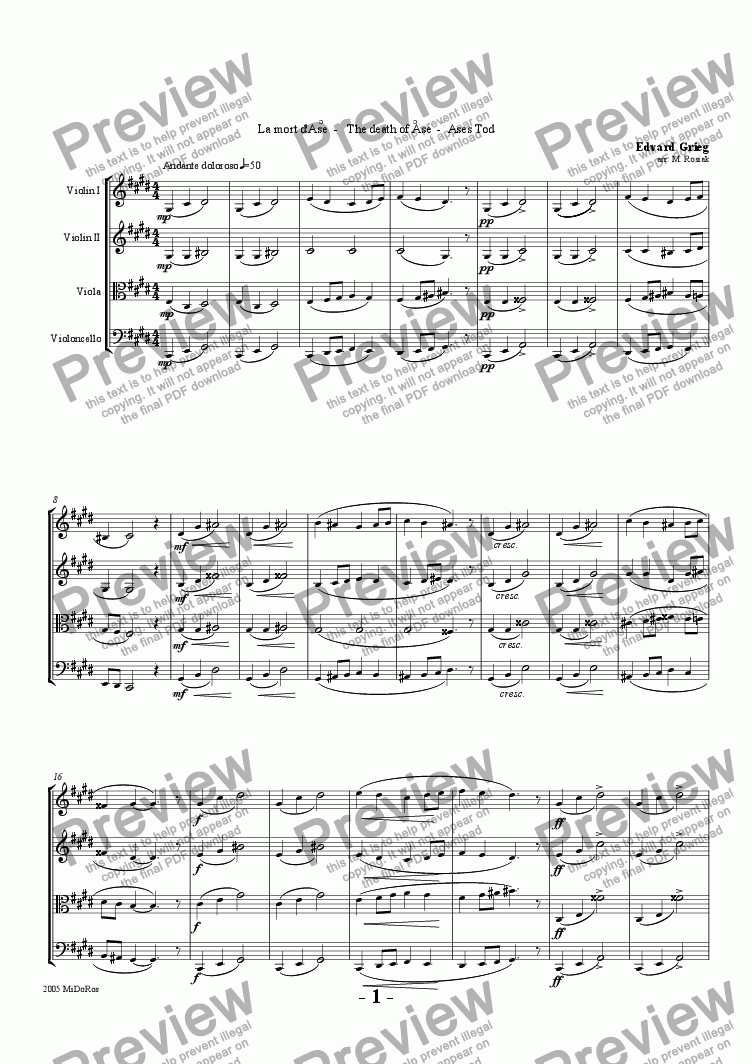 page one of Peer Gynt Suite No 1 - The Death of �se