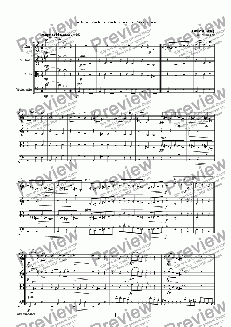 page one of Peer Gynt Suite No 1 - Anitra's Dance