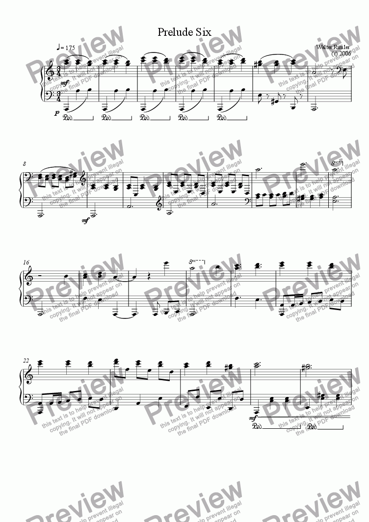 page one of Piano Prelude #6