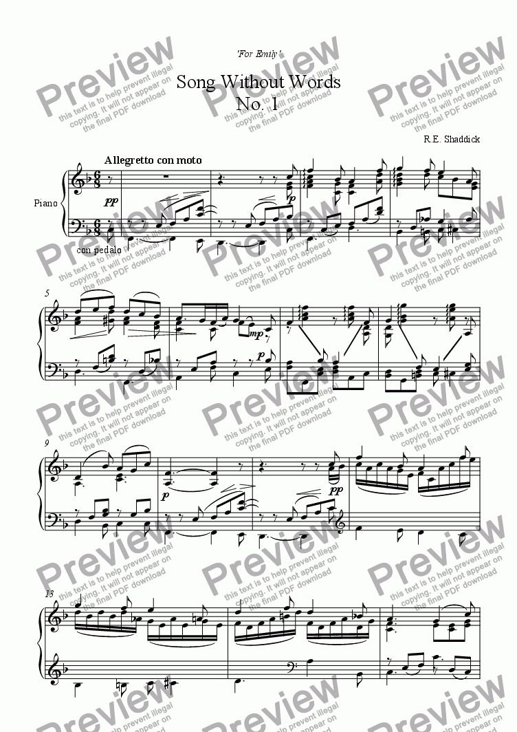 page one of Song Without Words No. 1