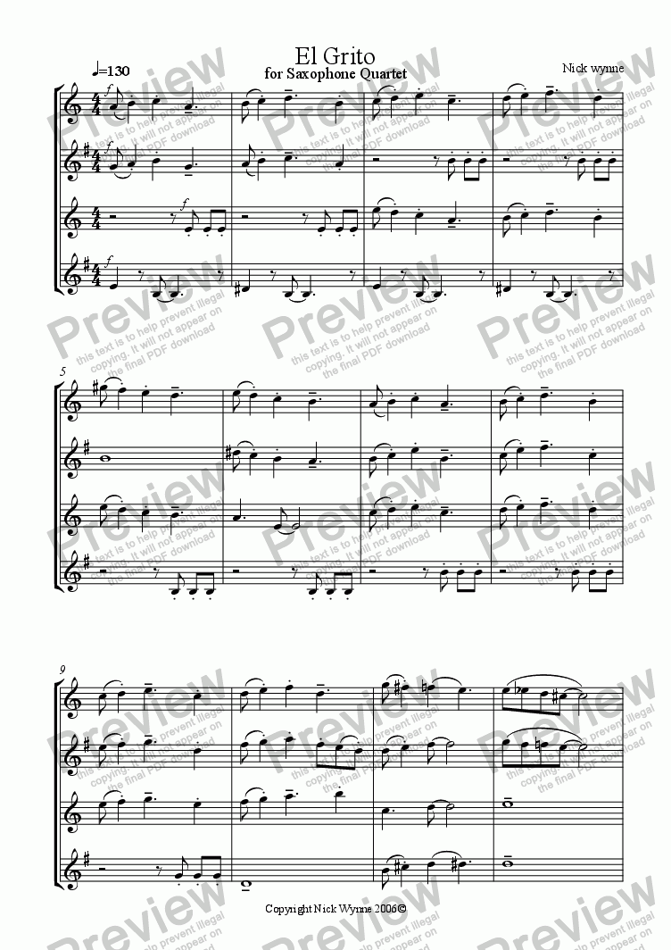 page one of El Grito for Sax Quartet