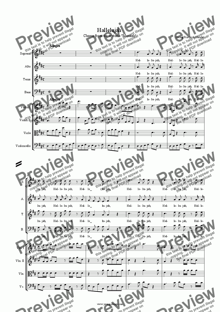 "page one of Hallelujah - chorus from ""Messiah"", Choir SATB  and string quartet"
