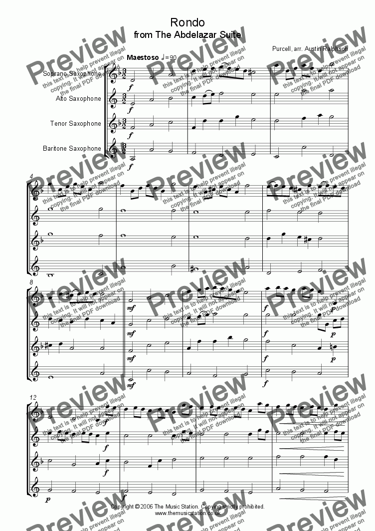 page one of Rondo from The Abdelazer Suite - sax quartet
