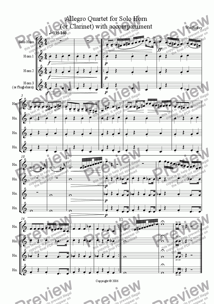 page one of Allegro Horn Quartet