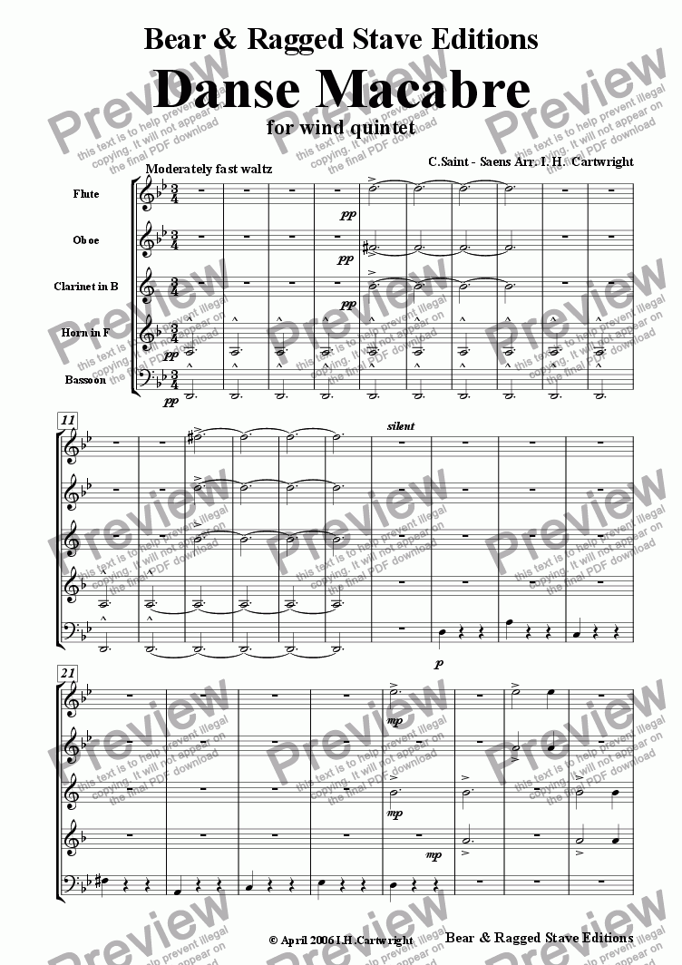 page one of Danse Macabre for wind quintet