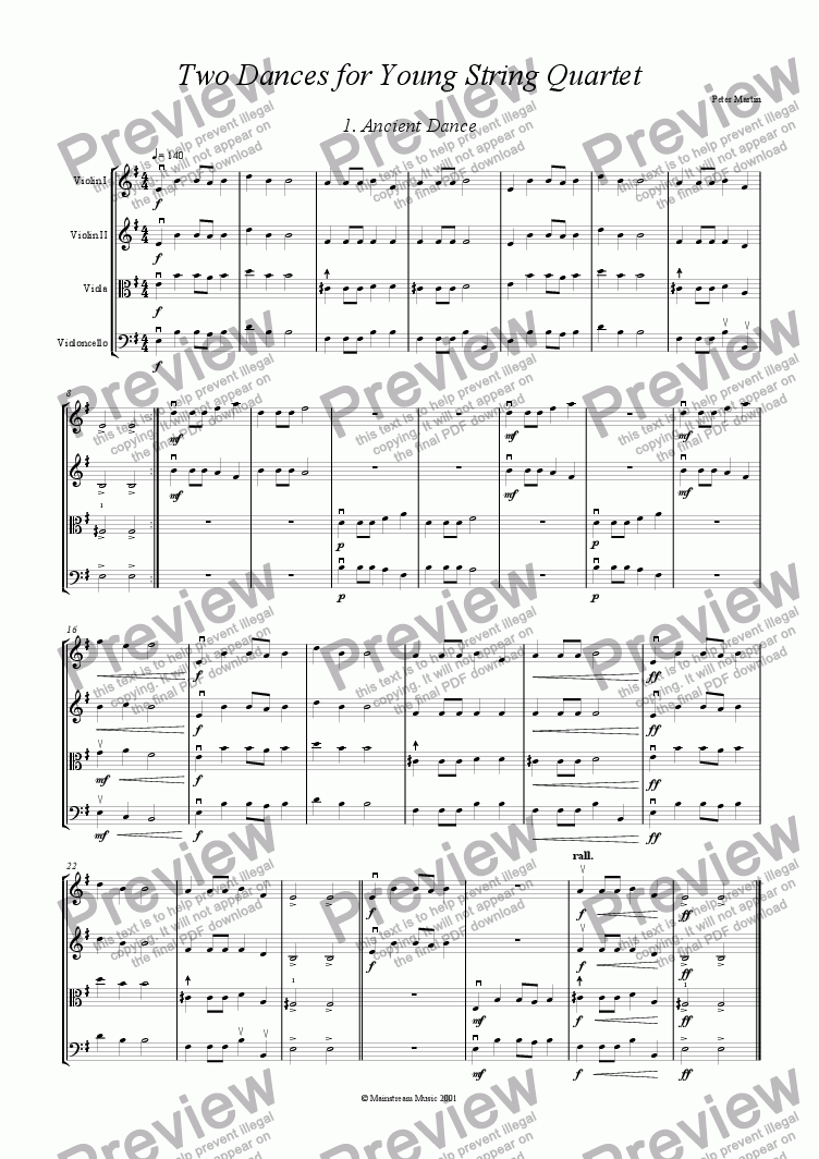 page one of Two Dances for Young String Quartet