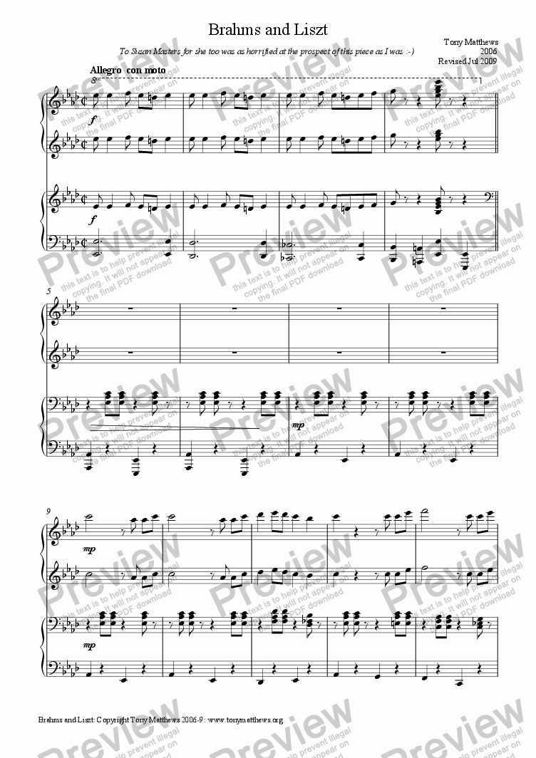 page one of Brahms and Liszt