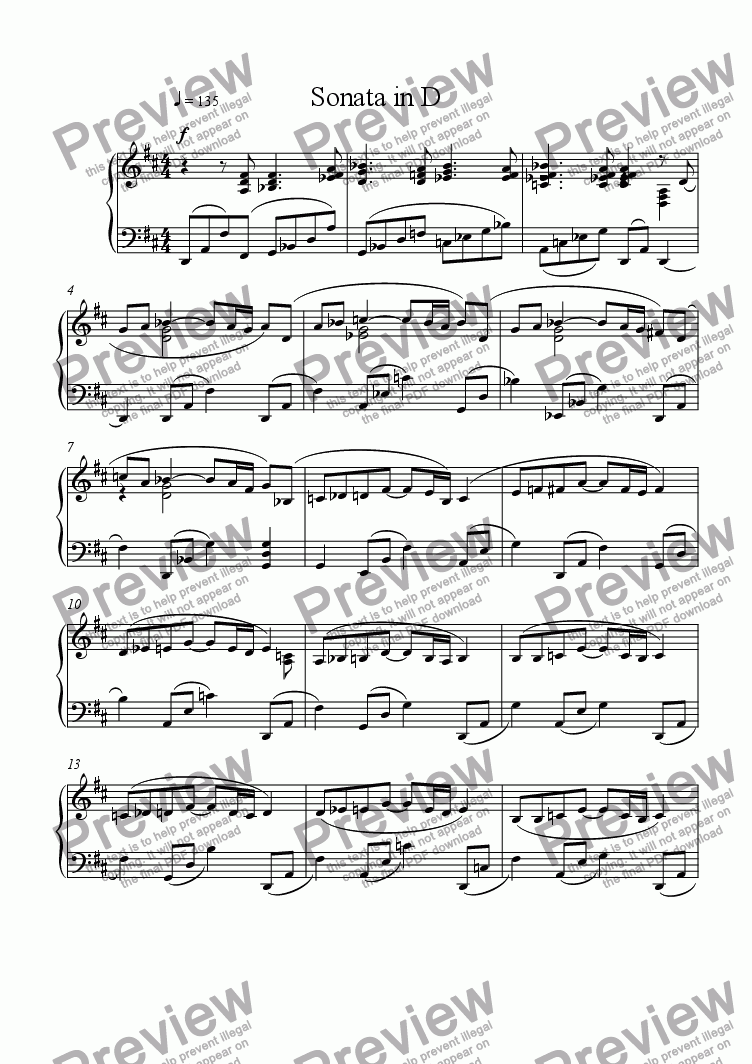 page one of Sonata in D