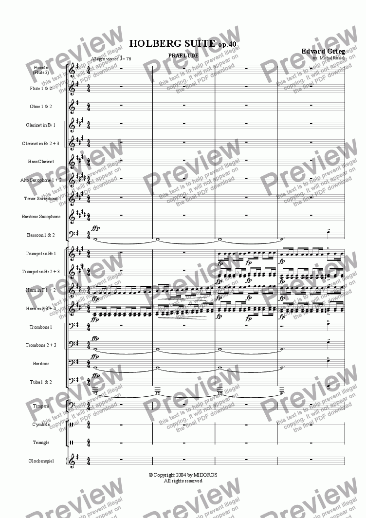 page one of Holberg Suite op.40 Prelude