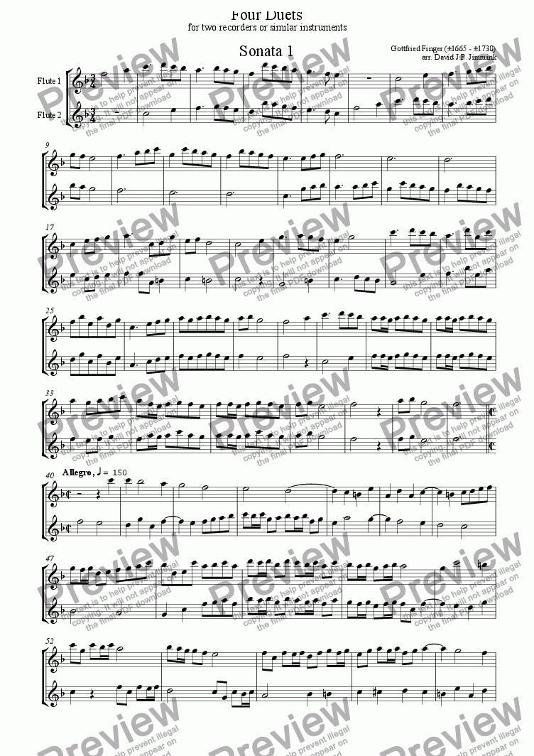 page one of Four duets for recorder, violin or similar instruments