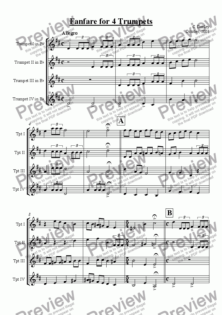 page one of Fanfare for Four Trumpets