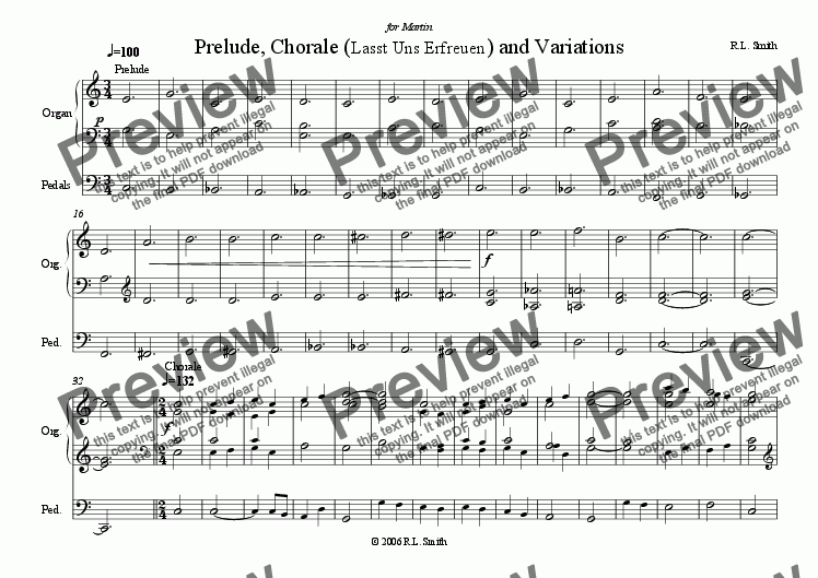 page one of Prelude, Chorale and Variations
