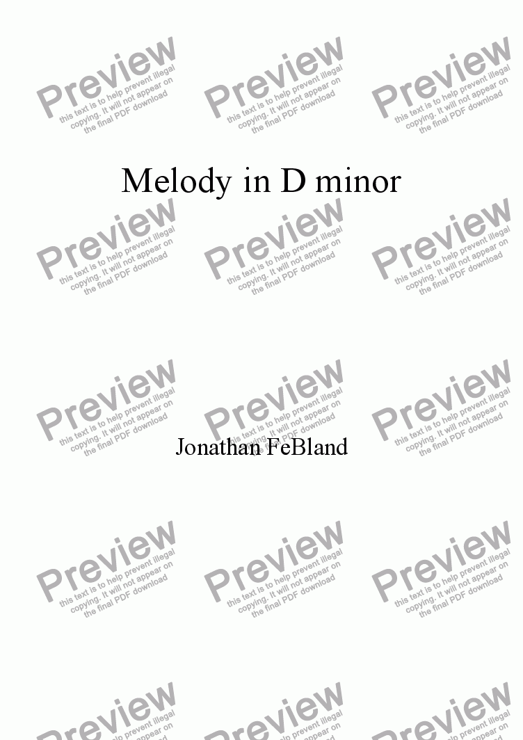 page one of Melody in D minor