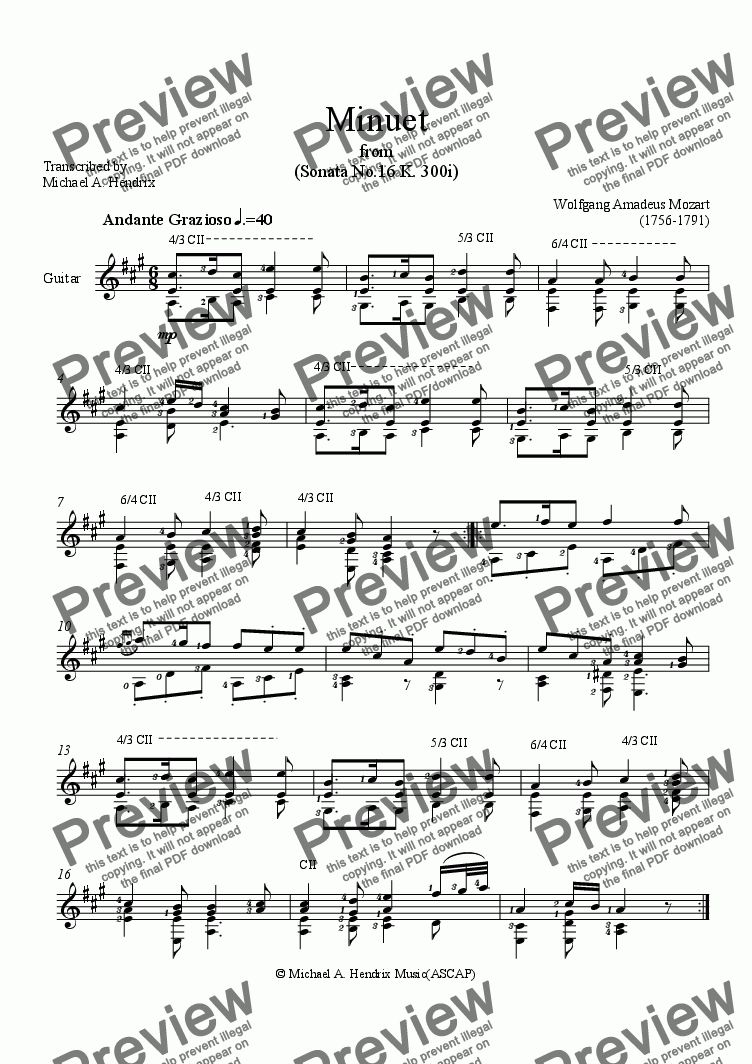 page one of Minuet from Sonata #16