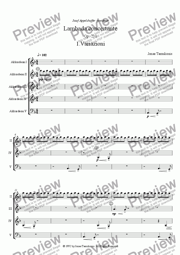 page one of Lambada concertante
