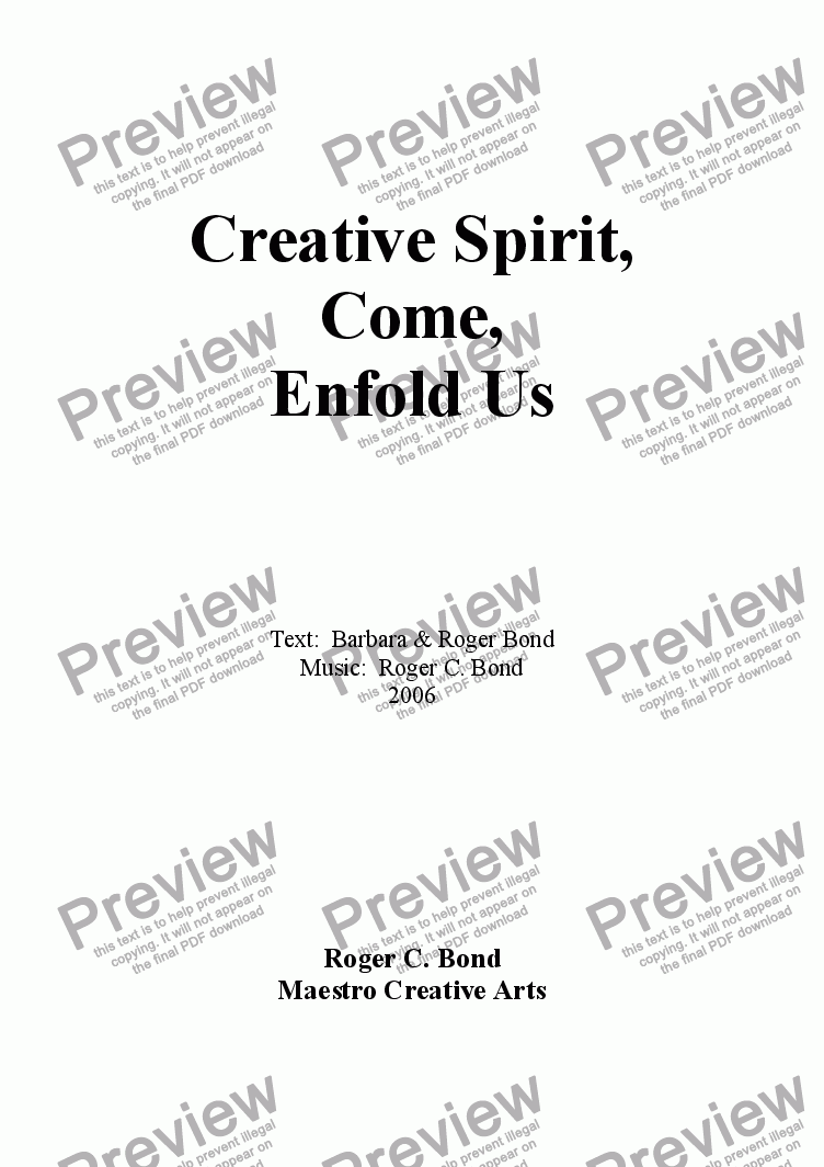 page one of Creative Spirit, Come, Enfold Us