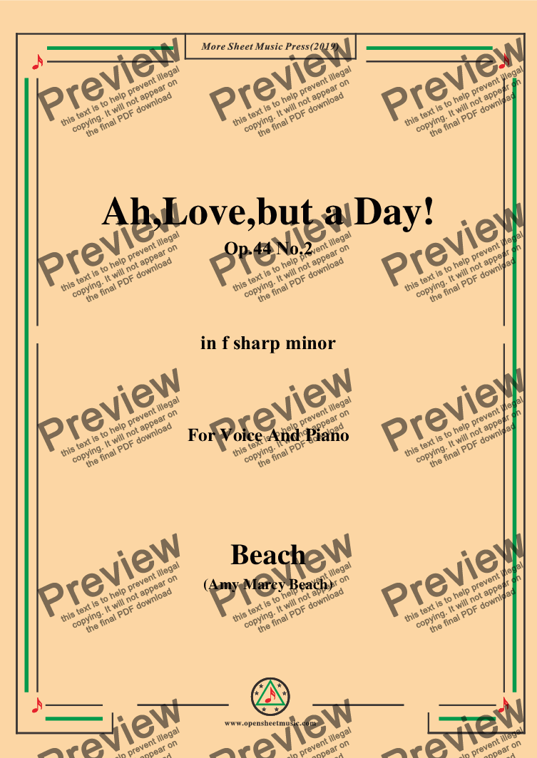 page one of Beach-Ah,Love,but a Day!,Op.44 No.2,in f sharp minor,for Voice and Piano