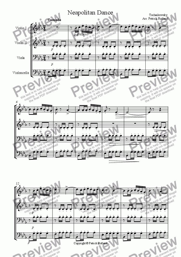 page one of Neapolitan Dance by Tchaikovsky from The Nutcracker