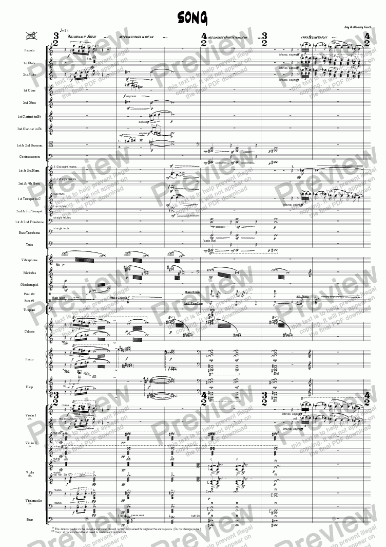 "page one of SONG (from ""A Song, a Hymn & a Chant"") lg. orch."