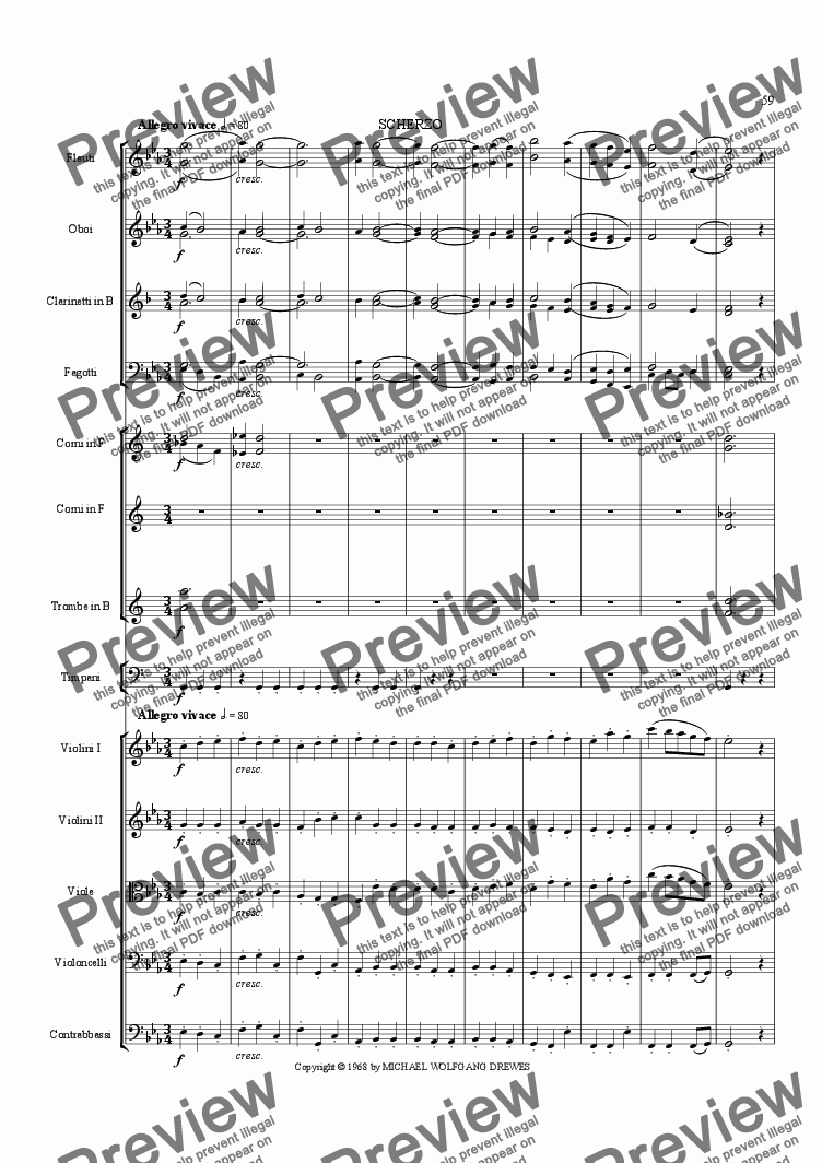 page one of Symphony No. 2, Movement 3 (Orchestrated Version)
