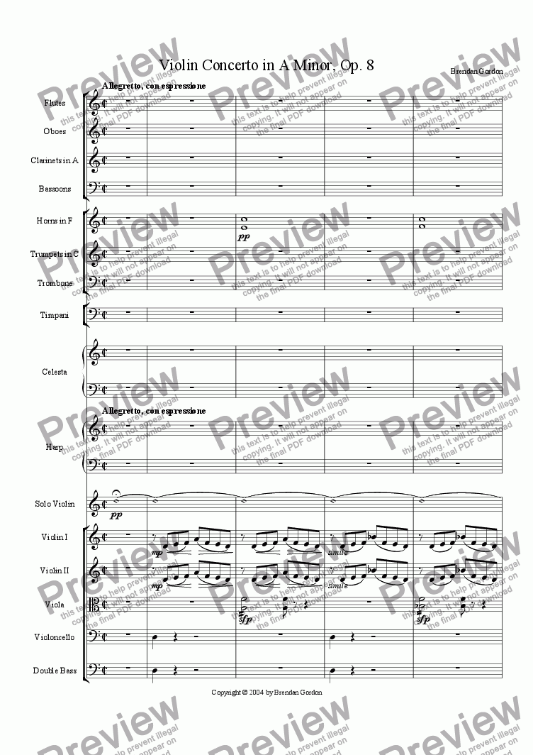 page one of Violin Concerto in A Minor, Op. 8 (I - Exposition)