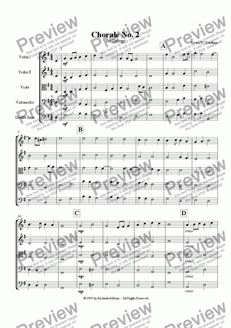 page one of Chorale No. 2 in G Major
