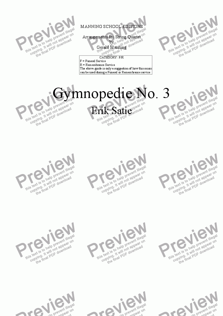 page one of Satie, E. - Gymnopedie No. 3 - arr. for String Quartet by Gerald manning