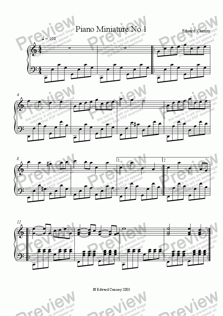 page one of Piano Miniature No.1