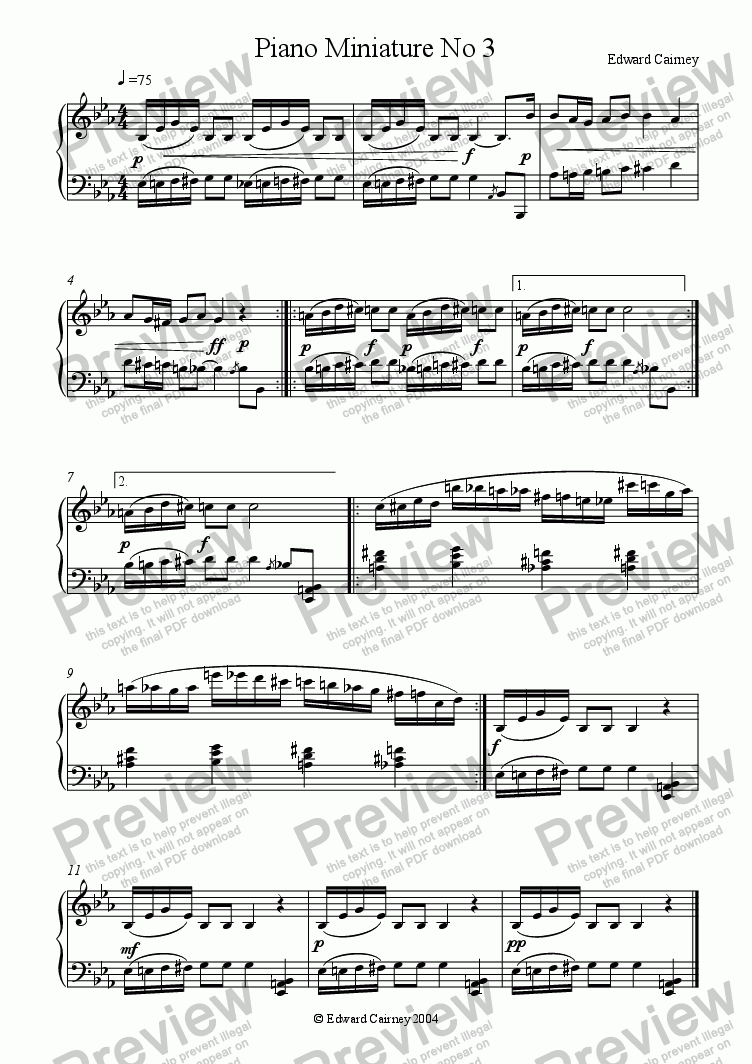 page one of Piano Miniature No.3ASALTTEXT