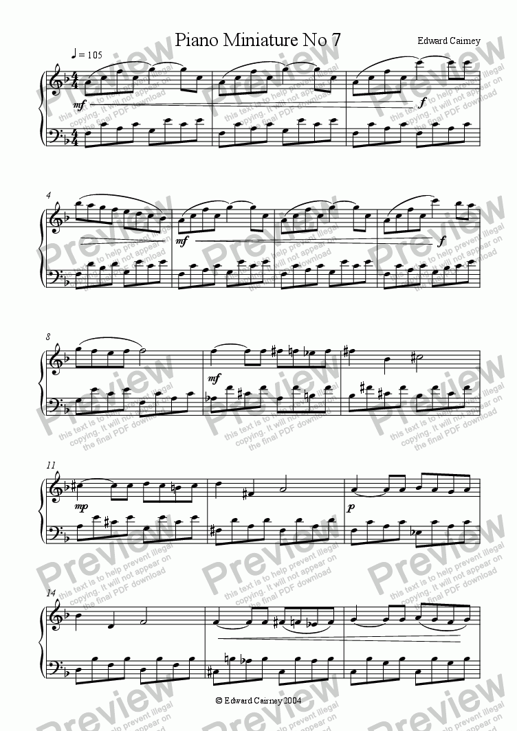 page one of Piano Miniature No.7