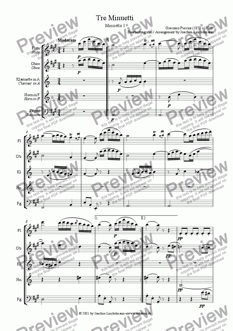 page one of Minuetto I