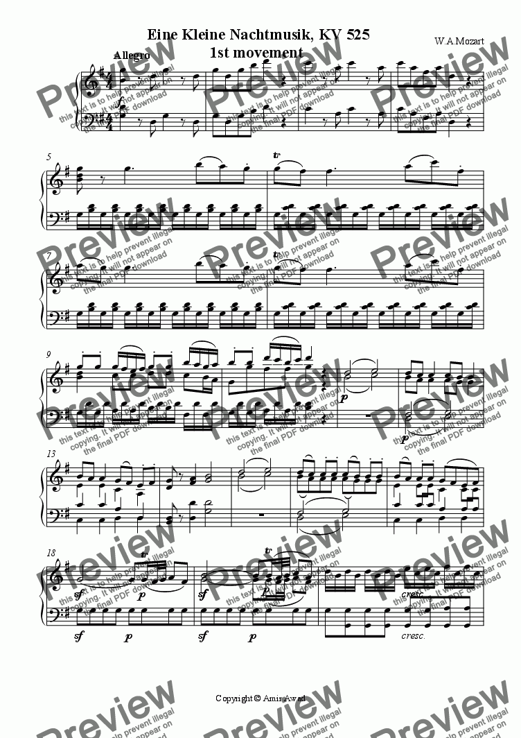 page one of Eine Kleine Nachtmusik, KV 525 1st movement  (arranged for solo piano)
