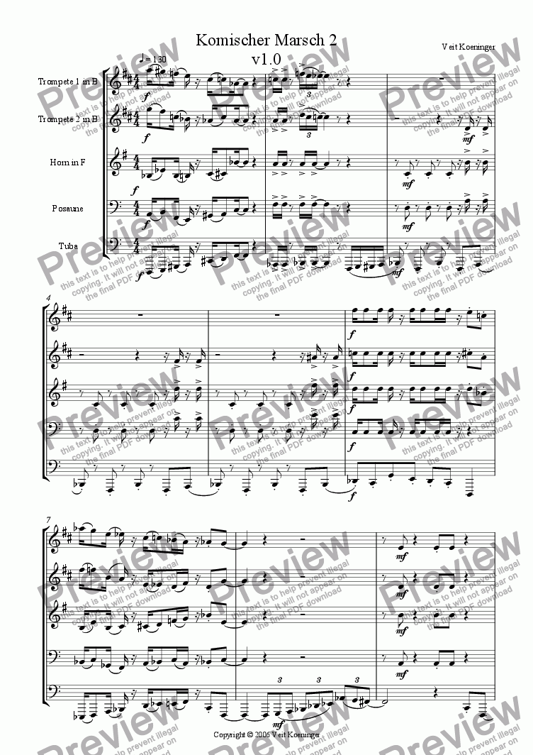 page one of Comical march 2  for brass quintet