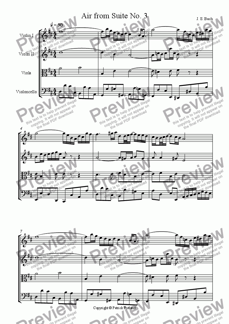 page one of Bach Air from suite No. 3