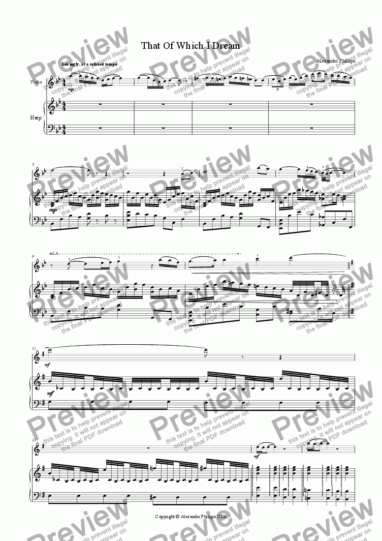 page one of That Of Which I Dream (Violin)
