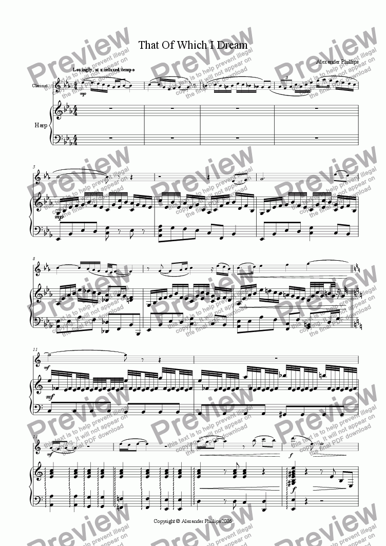 page one of That Of Which I Dream (Clarinet)