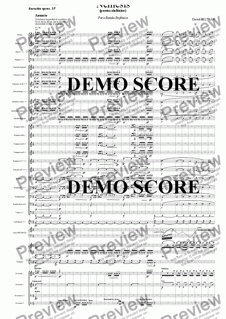 page one of Nemesis (symphonic poem)