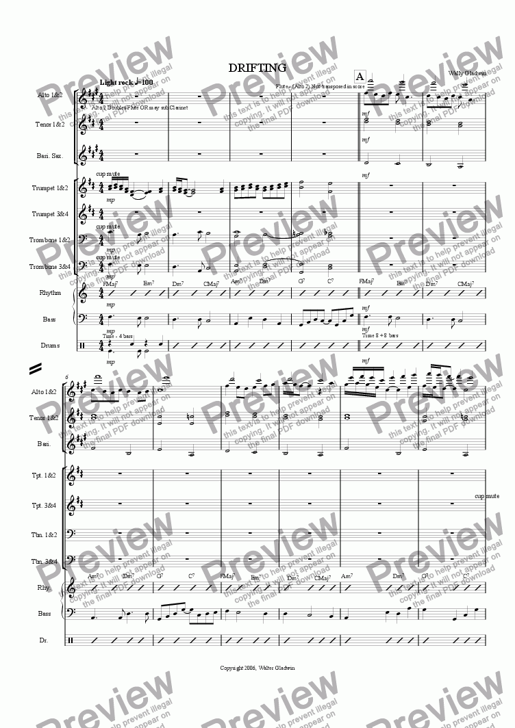 page one of DRIFTING (Big Band)ASALTTEXT