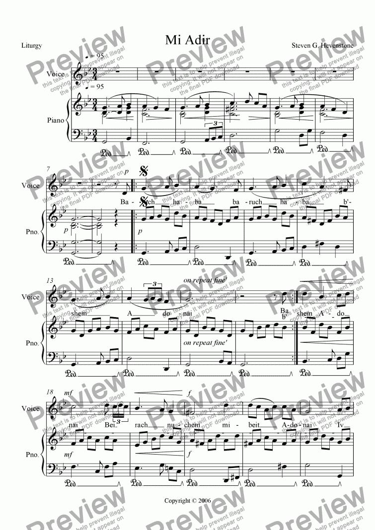 Mi Adir for Voice + keyboard by Steven Hevenstone - Sheet Music PDF file to  download