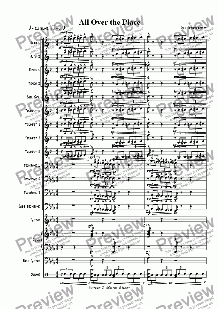 page one of All Over the Place (big band)