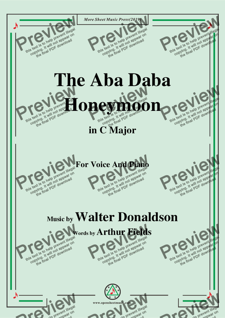 page one of Walter Donaldson-Aba Daba Honeymoon,in C Major,for Voice and Piano