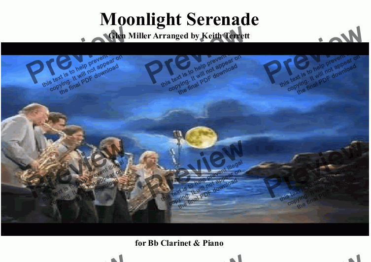 page one of Moonlight Serenade for Solo Bb Clarinet & Piano (Pro version)