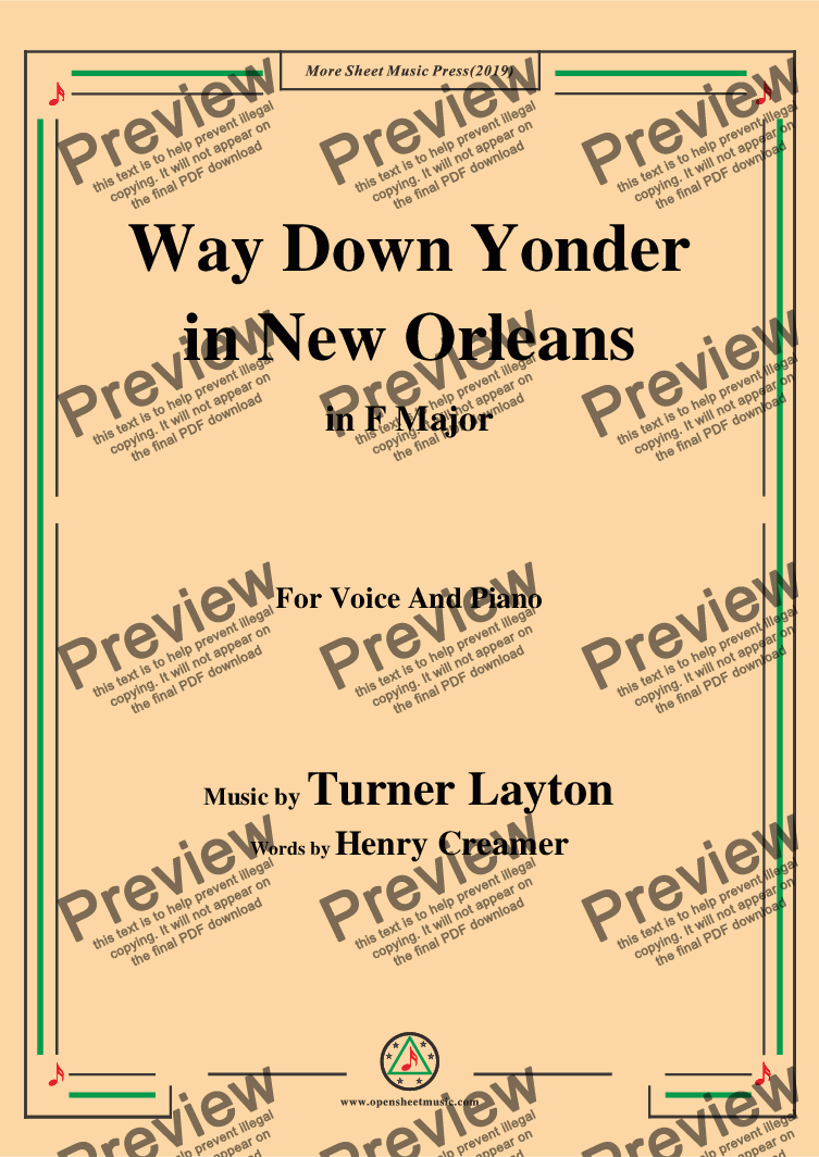 page one of Turner Layton-Way Down Yonder in New Orleans,in F Major,for Voice&Piano