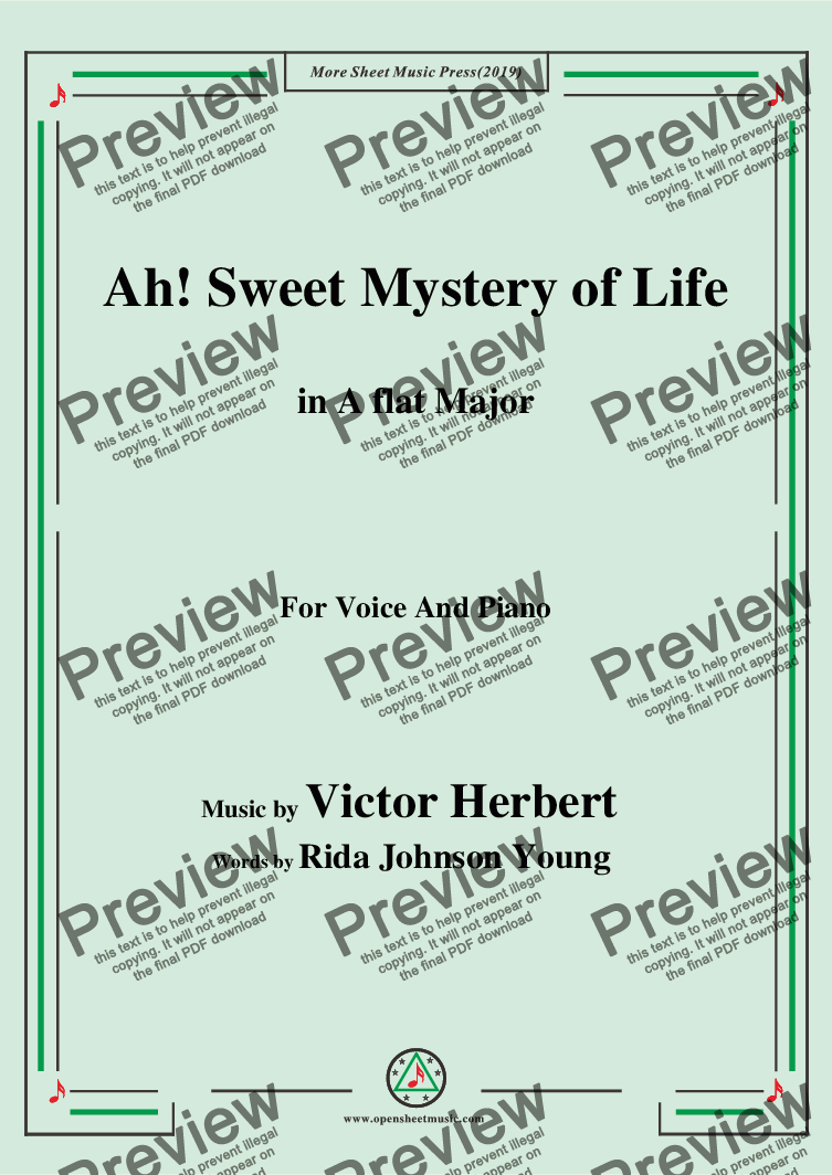 page one of Victor Herbert-Ah! Sweet Mystery of Life,in A flat Major,for Voice and Piano