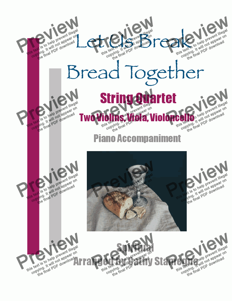 page one of Let Us Break Bread Together - String Quartet (Two Violins, Viola, Violoncello), Piano Accompaniment