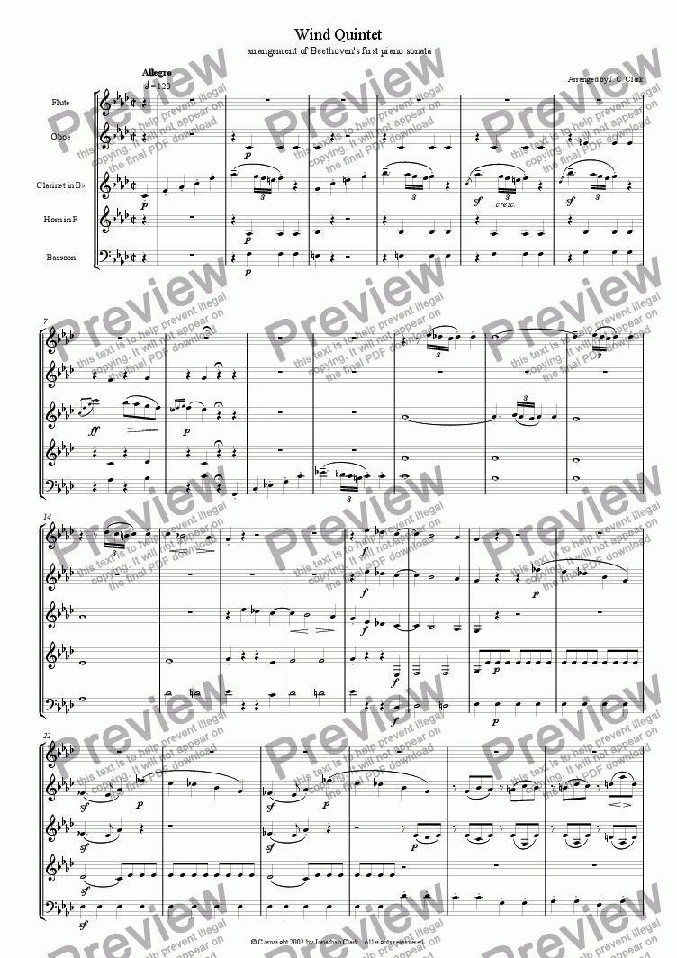 page one of Wind Quintet No. 1 (arrangement of Beethoven's first piano sonata)