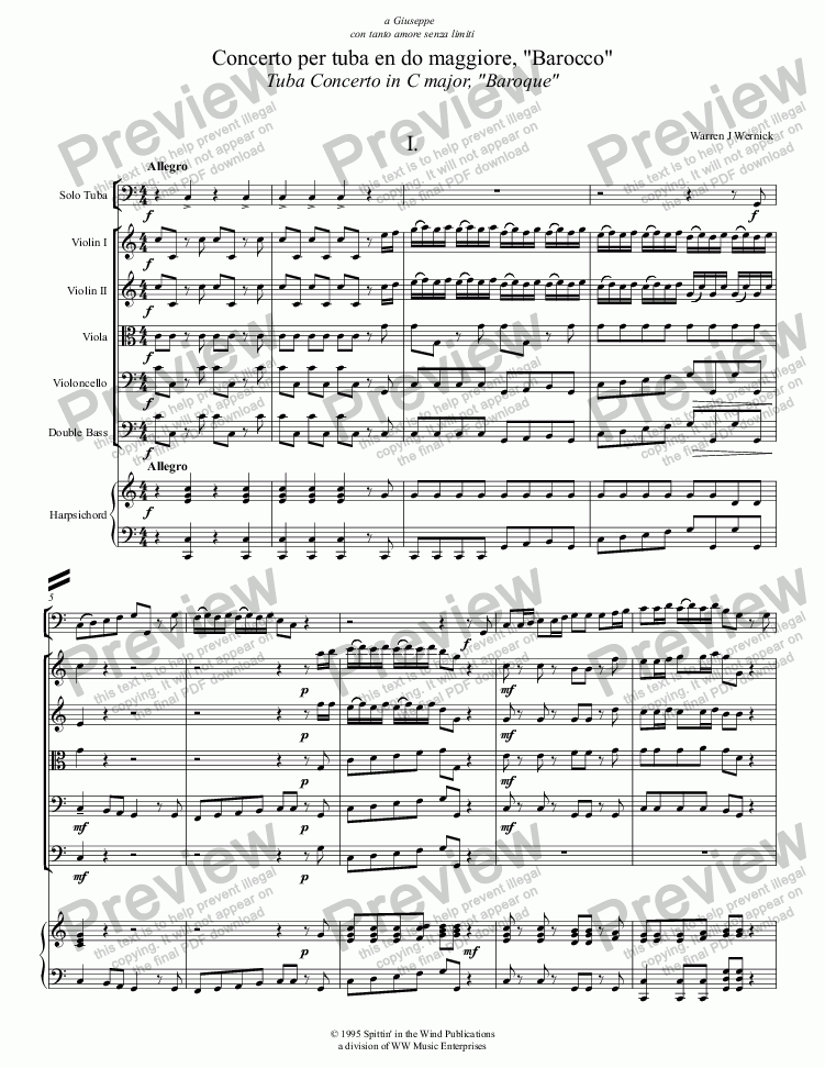 "page one of ""Baroque Concerto"" for Tuba and Orchestra"