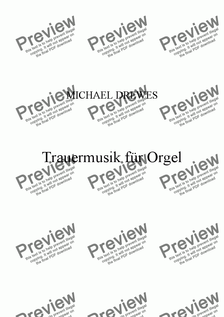 page one of Trauermusik für Orgel [Funeral Music for Organ]