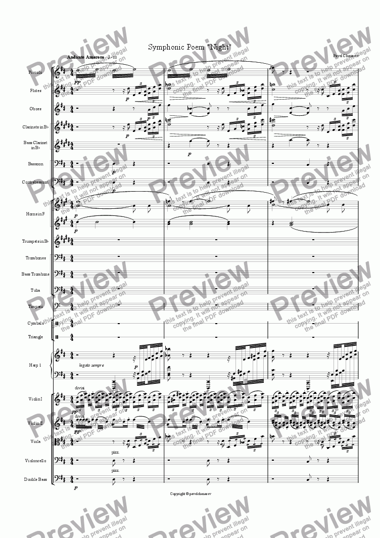 "page one of ""Night"" Symphonic Poem"